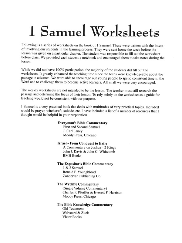 1 Samuel Worksheets – XL Ministries, Inc